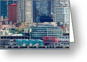 Seattle Waterfront Greeting Cards - SEATTLE WATERFRONT piers and condos in downtown Seattle WA Greeting Card by Andy Smy
