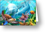 Dolphin Digital Art Greeting Cards - Seavilians Greeting Card by Jerry LoFaro