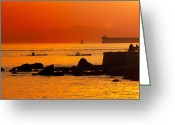 Sea Kayak Greeting Cards - Seawall Silhouette Greeting Card by Matt  Trimble