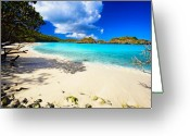 Blue Sky Photo Greeting Cards - Secluded  Beach Greeting Card by George Oze