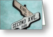 Signpost Greeting Cards - second Avenue 1400 Greeting Card by Priska Wettstein