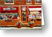 Resto Bars Greeting Cards - Second Cup Coffee Shop Greeting Card by Carole Spandau