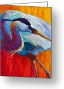 Western Greeting Cards - Second Glance - Great Blue Heron Greeting Card by Marion Rose