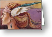 Headdress Greeting Cards - Secondary Wings Left Greeting Card by Jacque Hudson-Roate