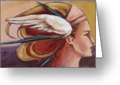 Headdress Greeting Cards - Secondary Wings Right Greeting Card by Jacque Hudson-Roate