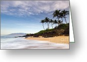 Tropical Island Photo Greeting Cards - Secret Beach Maui Sunrise Greeting Card by Dustin K Ryan
