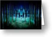 Mythology Surrealism Greeting Cards - Secret Castle Greeting Card by Svetlana Sewell