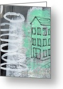 Urban Mixed Media Greeting Cards - Secret Cottage Greeting Card by Linda Woods