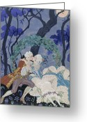 Clandestine Greeting Cards - Secret Kiss Greeting Card by Georges Barbier