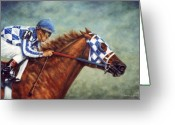 Horse Greeting Cards Painting Greeting Cards - Secretariat - Turcotte up  Greeting Card by Thomas Allen Pauly