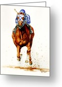 Horse Greeting Cards Painting Greeting Cards - Secretariat at Belmont Greeting Card by Thomas Allen Pauly