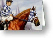 Jockeys Greeting Cards - Secretariat at Churchill Greeting Card by Thomas Allen Pauly