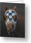 Horses Pastels Greeting Cards - Secretariat - Jewel of the 1973 Triple Crown Greeting Card by Arline Wagner