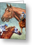 Horse Greeting Cards Painting Greeting Cards - Secretariat the Legend Greeting Card by Thomas Allen Pauly