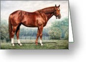 Posters Greeting Cards - Secretariat Greeting Card by Thomas Allen Pauly