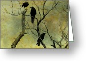 Secretive Greeting Cards - Secretive Crows Greeting Card by Gothicolors With Crows