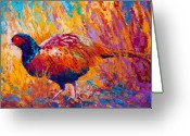 Animal Hunting Greeting Cards - Secrets In The Grass - Pheasant Greeting Card by Marion Rose