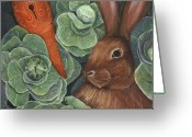Clock Art Greeting Cards - Secrets Of The Garden RABBIT Greeting Card by Debbie McCulley