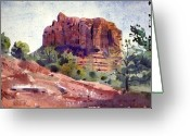 Sedona Greeting Cards - Sedona Butte Greeting Card by Donald Maier