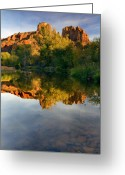 Stream Greeting Cards - Sedona Sunset Greeting Card by Mike  Dawson