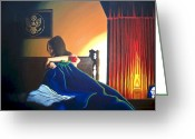 Oil Lamp Greeting Cards - Seduced Greeting Card by Hershel Kysar