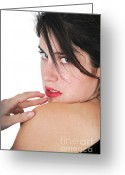 Bare Shoulder Greeting Cards - Seductive woman Greeting Card by Ilan Rosen