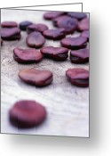 Broad-bean Greeting Cards - Seeds (vicia Faba red Epicure) Greeting Card by Maxine Adcock