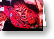Wolfman Greeting Cards - Seeing Red Greeting Card by Judyann Matthews