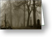 Graveyard Digital Art Greeting Cards - Seeped In Fog Greeting Card by Gothicolors With Crows