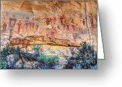 Ute Greeting Cards - Sego Canyon Indian Petroglyphs and Pictographs Greeting Card by Gary Whitton
