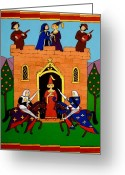 Knights Castle Painting Greeting Cards - Seige of the Castle of Love Greeting Card by Stephanie Moore