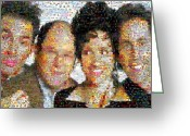 Seinfeld Greeting Cards - Seinfeld Mosaic Greeting Card by Paul Van Scott