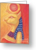Orange Pastels Greeting Cards - Sekhmet Greeting Card by Cassandra Geernaert