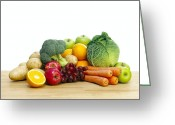 Selection Greeting Cards - Selection Of Fresh Fruit And Vegetables Greeting Card by Mark Sykes