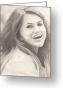 Tomboy Greeting Cards - Selena Gomez Greeting Card by Kendra Tharaldsen-Franklin