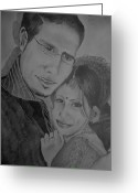 Gray-scale Greeting Cards - Self and Hubby Portrait Greeting Card by Shakhenabat Kasana