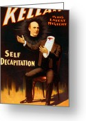 Houdini Greeting Cards - Self Decapitation Greeting Card by Marcie Adams Eastmans Studio Photography