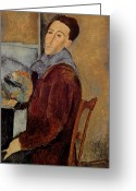 Modigliani Painting Greeting Cards - Self Portrait Greeting Card by Amedeo Modigliani