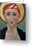 Byzantine Greeting Cards - Self Portrait As A Common Saint Greeting Card by Amy Rouyer