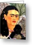 Artist Canvas Painting Greeting Cards - Self Portrait by Frida Kahlo Greeting Card by Pg Reproductions