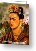 Frida Kahlo Greeting Cards - Self Portrait Dedicated to Dr Eloesser by Frida Kahlo  Greeting Card by Pg Reproductions