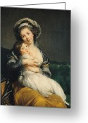Mother And Child Greeting Cards - Self portrait in a Turban with her Child Greeting Card by Elisabeth Louise Vigee Lebrun