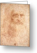 Painters Greeting Cards - Self Portrait in Red Chalk Greeting Card by Extrospection Art