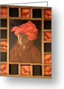 Portrature Greeting Cards - Self-Portrait in the Red Turban Greeting Card by Alla Parsons