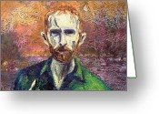 Pointing Painting Greeting Cards - Self Portrait Greeting Card by John  Nolan