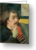 Chin On Hand Greeting Cards - Self portrait Greeting Card by Paul Gauguin