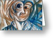 Physiognomy Greeting Cards - Self-Portrait  Greeting Card by Paulo Zerbato