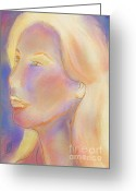 Hall Pastels Greeting Cards - Self Portrait Greeting Card by Rosy Hall