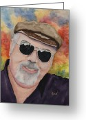 Head Greeting Cards - Self Portrait with Sunglasses Greeting Card by Sam Sidders