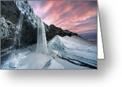 Iceland Greeting Cards - Seljalandsfoss Sunset Greeting Card by Traumlichtfabrik
